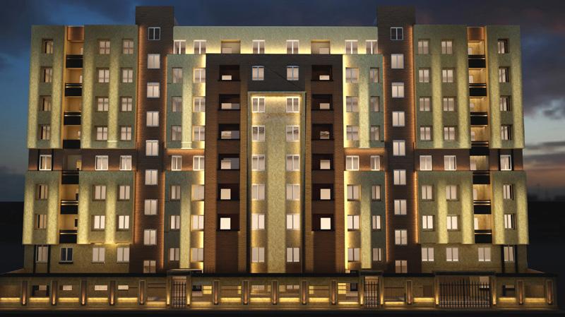طراحی سه بعدی نورپردازی نمای ساختمان مسکونی